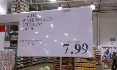 Costco watermelon price card